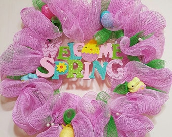 Welcome Springtime in Pink Deco Mesh Wreath