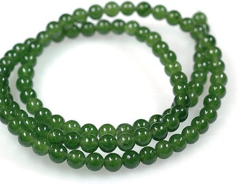 AAA Rated Genuine Green Nephrite Jade Beads, 16'' Strand ( 3mm- 10mm ). 817-801