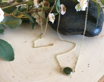 Jade Pendant Necklace with Gold Chain