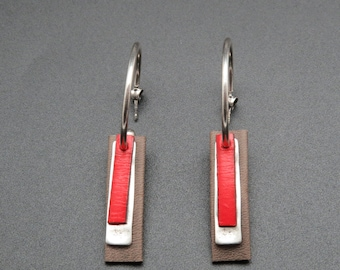 Earrings hoops leather Bali