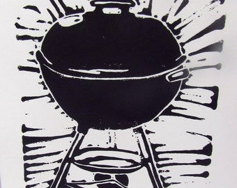 BBQ barbecue Hand cut Lino printed cards set of 10