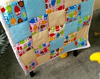 Baby quilt, owls baby quilt, play mat, cot quilt, pram blanket, buggy blanket, owls baby blanket, baby gift, baby blanket