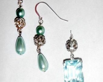 Earrings/Pendant Set- AuquaMarine/Sterling
