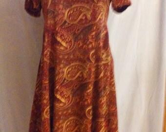 Burgandy Paisley Print Dress