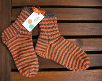 Hand knitted warm striped socks