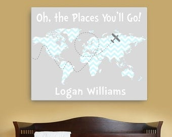 Dr. Seuss quote canvas, oh the places you will go canvas Dr Seuss Nursery decor, map canvas for nursery the places you'll go map canvas