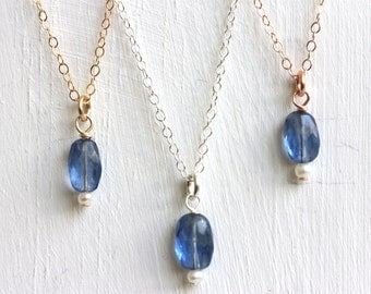Tiny Kyanite Freshwater Pearl Pendant, Sterling Silver, Rose Gold Filled Chain, Dainty Boho Chic