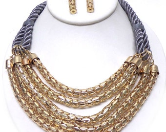 Braided rope and chain tube necklace set