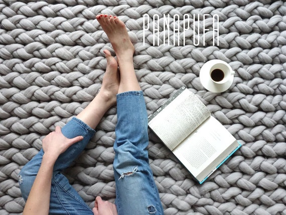 TAPPETO di maglia, maglia grosso tappeto, tappeto filato grosso ...
