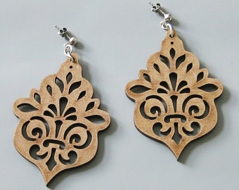 laser cut chandelier earrings LOISTO from MDF