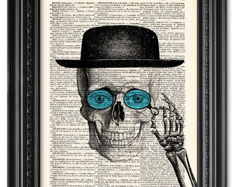 Mr. Skull, Skull art print, Dictionary art print, Vintage book art print, upcycled dictionary page, Home Wall Decor, Gift poster [ART 095]