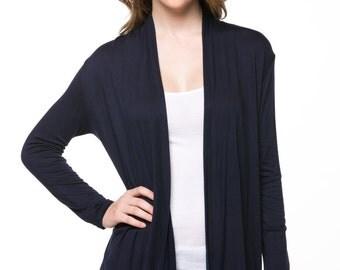 Black Open Drape Cardigan More Color