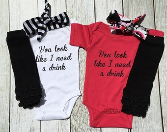 """Twins Clothing, """"You Look Like I Need a drink"""" Twin Funny Bodysuit, Identical Twin Girls, Fraternal Twin Girls"""