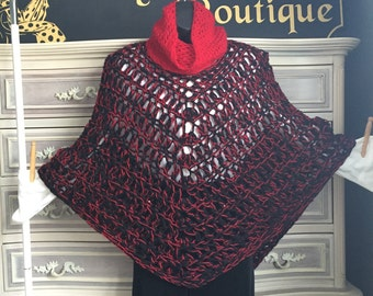 Black wool and red sparkle acrylic cape