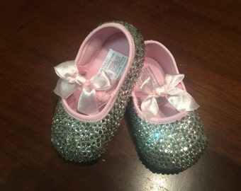 Crystal shoes, princess shoes, butterfly, tiara shoes, crystal baby shoes, rhinestone shoes, baby ballerina shoes, christening shoes