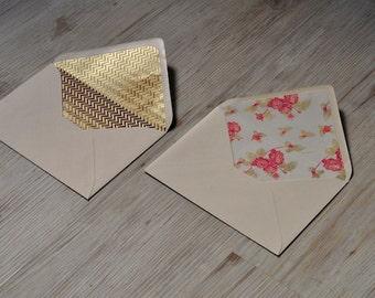 Gold foil lined envelopes, a set of 2, 2 Stück, Gold florals, copper lines, versandkostenfrei, free shippping