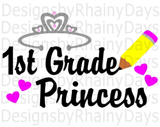 Buy 3 get 1 free! 1st grade princess cutting file, SVG, DXF, png, first grade design, cute, girl, back to school