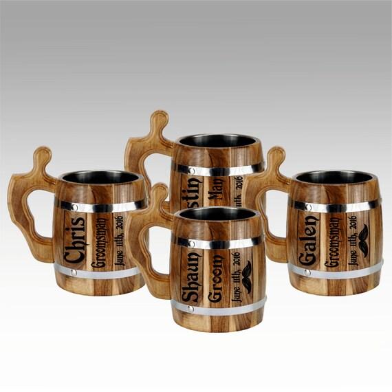 Beer Mugs, Personalized Laser Etched Wooden Mug, Grooms gift, Wedding ...