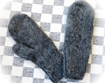 Warm knitted winter grey Mittens for adults No. a-07