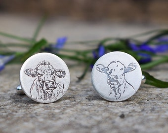 Silver Cow Cufflinks, Cow Cufflinks, Cow Gift, Cow Gift for him, Gift for Farmer, Cow Jewellery, Cattle Jewellery, Cow Jewelry, Cows, Cow