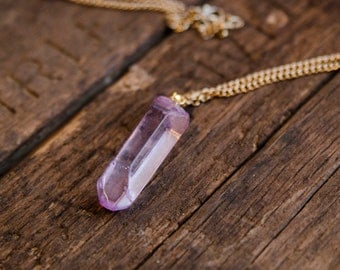 Natural Lavendar Crystal Necklace