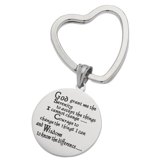 God Grant Me The Serenity, Serenity Prayer Keyring, Serenity Keychain, Inspirational Keychain