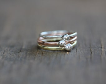 Stacking Rings made of Silver, Copper and Brass with 925 silver ball on top. Size N 1/2 Aus. 7 US