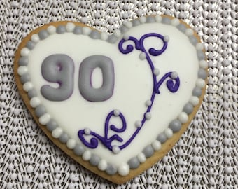 90th birthday or ANY age heart decorated sugar cookie.  Order is for one dozen (12) cookies