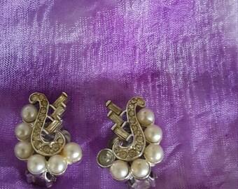 MX Earrings/Signed MX Vintage/Clip On Earrings/Faux Pearl Earrings/Rhinestone Earrings/Vintage MX Earrings/Womens Vintage Costume Jewelry