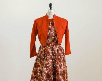 Vintage 1950s Orange Feather or leaf Print Silk Dress with Pockets! Matching Orange Linen Cropped Jacket