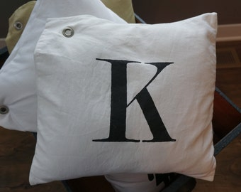 Stenciled Letter Canvas Pillow