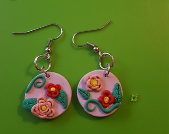 Pink and Red Flowered Earrings