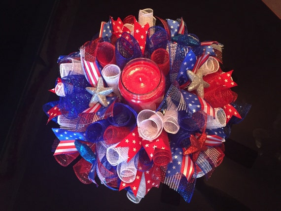 Patriotic th of july centerpiece candle by crystalsetsystore