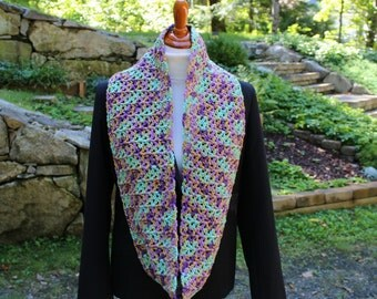 Multicolor Crochet Infinity Scarf, Long Infinity Scarf, Wide Scarf