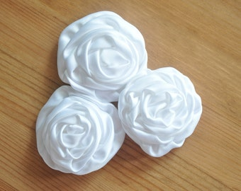 3 Satin Rosette Flowers, White Fabric Roses, Wholesale Fabric Flowers, Headband Supplies, DIY Mixed Flowers, White Flower Applique, #1