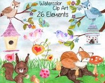 "Forest animals clip art: ""WATERCOLOR ANIMAL CLIPART"" Woodland animals Fox Owl Forest landscape kids clipart watercolor flowers bird house"