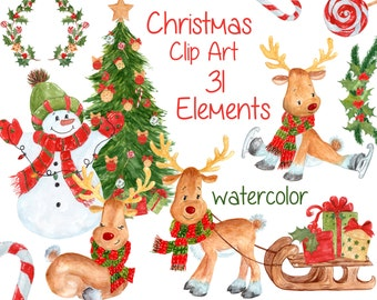 """Watercolor Christmas clipart: """"CHRISTMAS CLIP ART"""" Kids clipart Cute Holiday clipart Reindeer clipart Christmas gift ornaments tree clipart"""