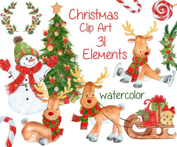 "Watercolor Christmas clipart: ""CHRISTMAS CLIP ART"" Kids ..."