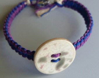 Royal Blue And Purple Macrame Button Bracelet