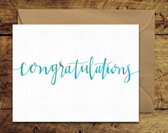 Congratulations - Greeting Card with Envelope