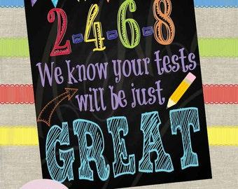 Instant Download! School Test Encouragement Poster 8x10 11x14 Fast Processing Time Apple Bus Owl Teacher