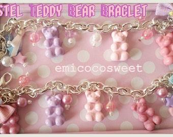 Pastel Gummy bear Bracelet,kawaii Bracelet,Food jewellery,Cute pastel jewellery,Miniature food bracelet,Kawaii jewellery,Fairy Kei jewellery