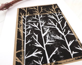 Sand, White, Abstract Tree Print, Mounted Original Artwork