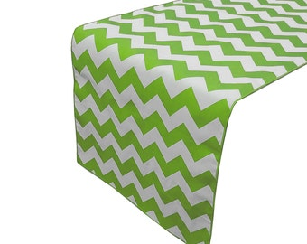 Zen Creative Designs Premium Cotton Table Top Runner Zig-Zag Chevron Green
