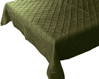 Pin-tuck Table Cloth Fancy Polyester Taffeta Willow Green