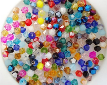 4mm Bicone Beads, Mixed Bicone Beads,  4mm Glass Bicone Beads, 4mm Bicone Beads, Mixed Colour 4mm, 4mm Faceted Beads, 4mm Beads,