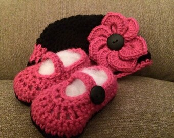 Crochet Hat and Mary Jane booties