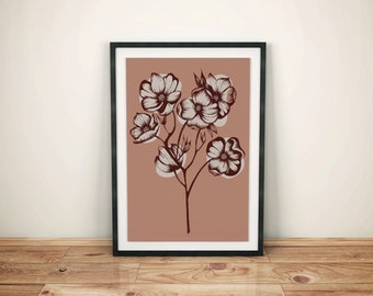Print Illustration British Columbia Flower Pacific Dogwood Wall Art Ink Drawing