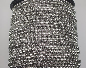 300 feet Rhodium Plated Ball chain 3.2mm Round BALL Chain -  Bulk ball chain Wholesale ball chain - with FREE 50 pcs of Connector