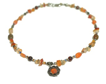 Carnelian and citrine beaded necklace.